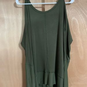 Olive green long sleeve tunic with cold shoulders